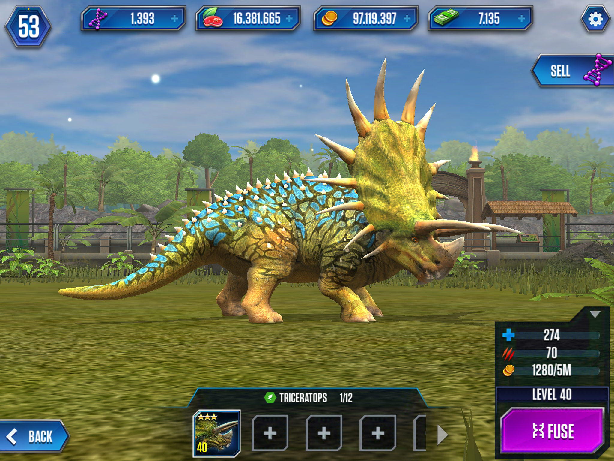 Fully evolved Triceratops from Jurassic World: The Game