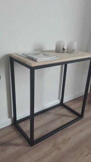 Kleine Side Table.Kleine Sidetable Staal En Eikenhout Www Stalen Frame Nl