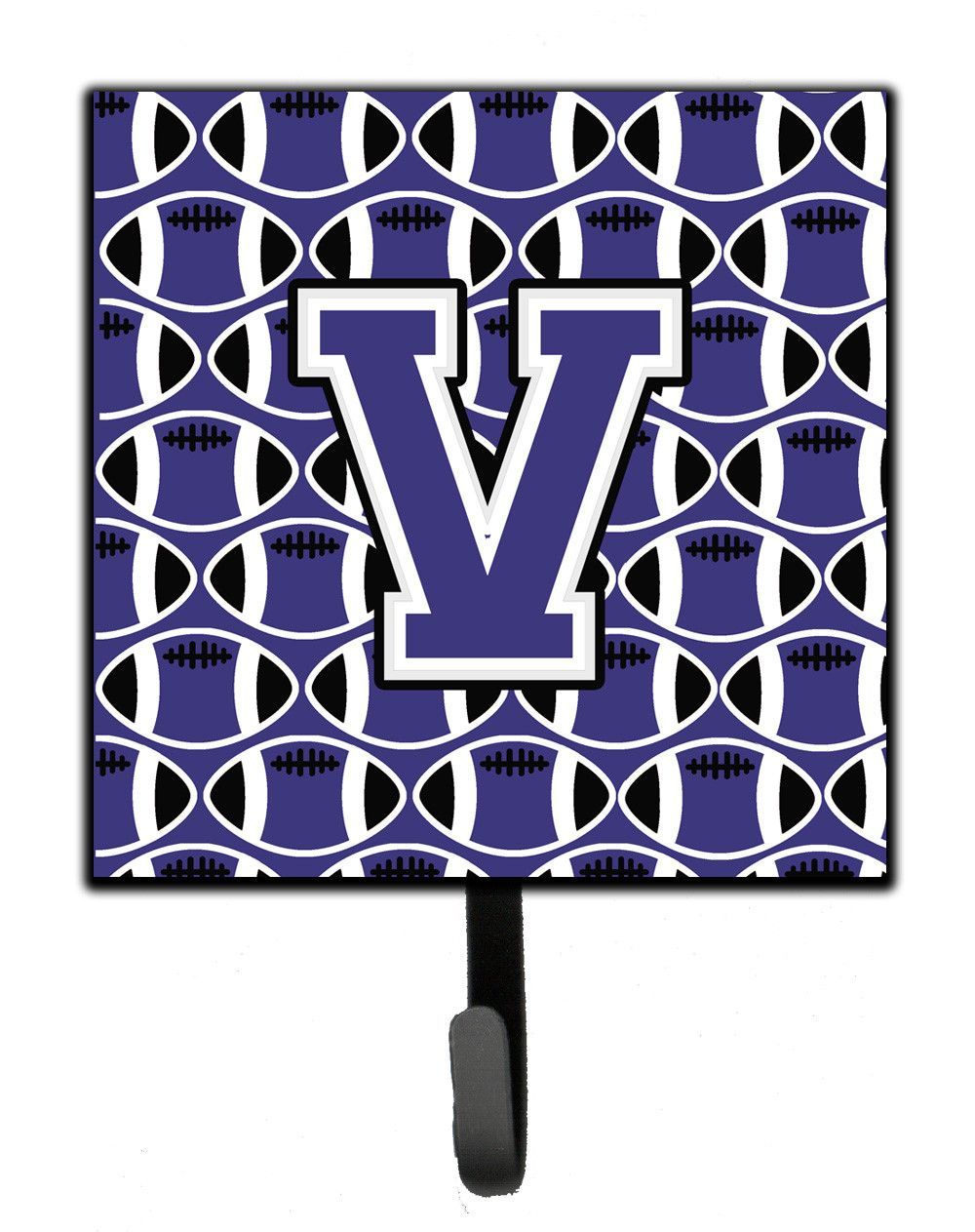 Letter V Football Purple and White Leash or Key Holder CJ1068-VSH4