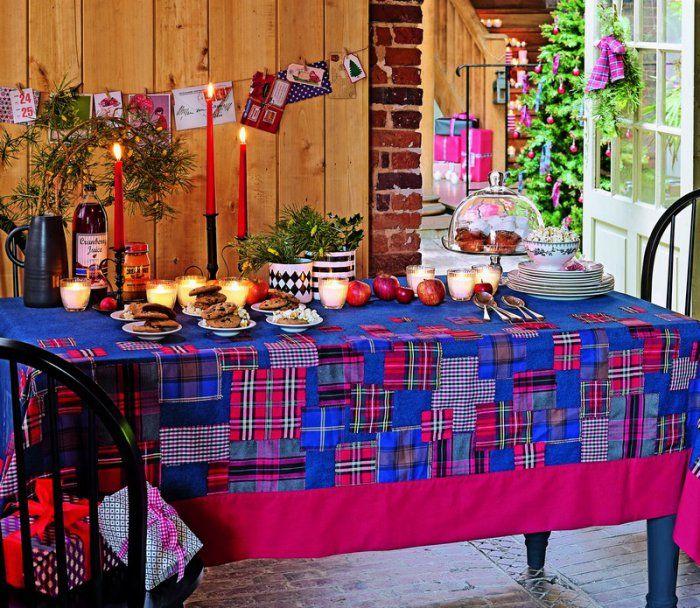 Coudre une nappe en patchwork de tissus à motifs tartan
