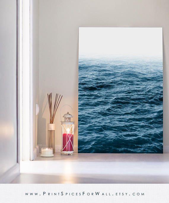 Ocean Print, Wave Print, Ocean Art, Ocean Fog Print, Blue Print - wohnzimmer beige petrol
