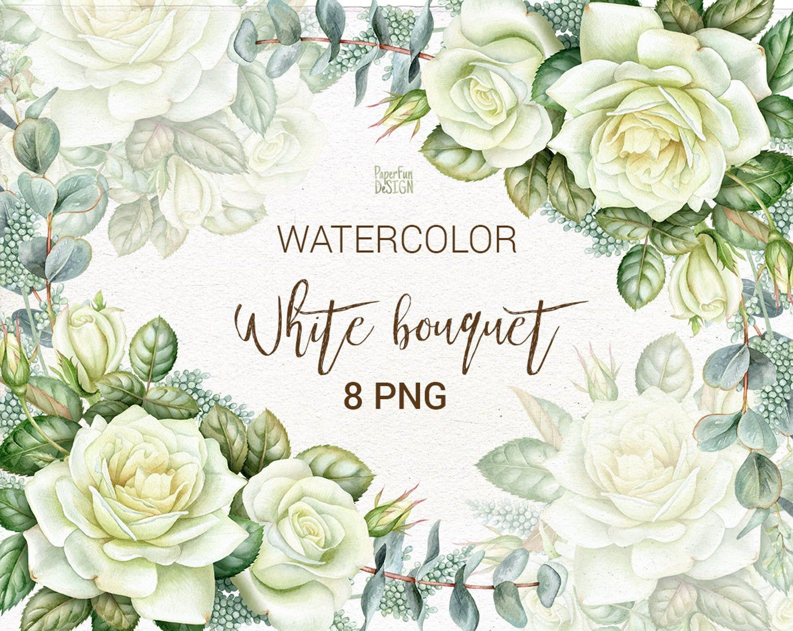 Watercolor Wedding Bouquets With White Roses And Eucalyptus Floral Christmas Corner Frame Wreath Individual Png Commercial Use Clip Art Watercolor Wedding White Roses
