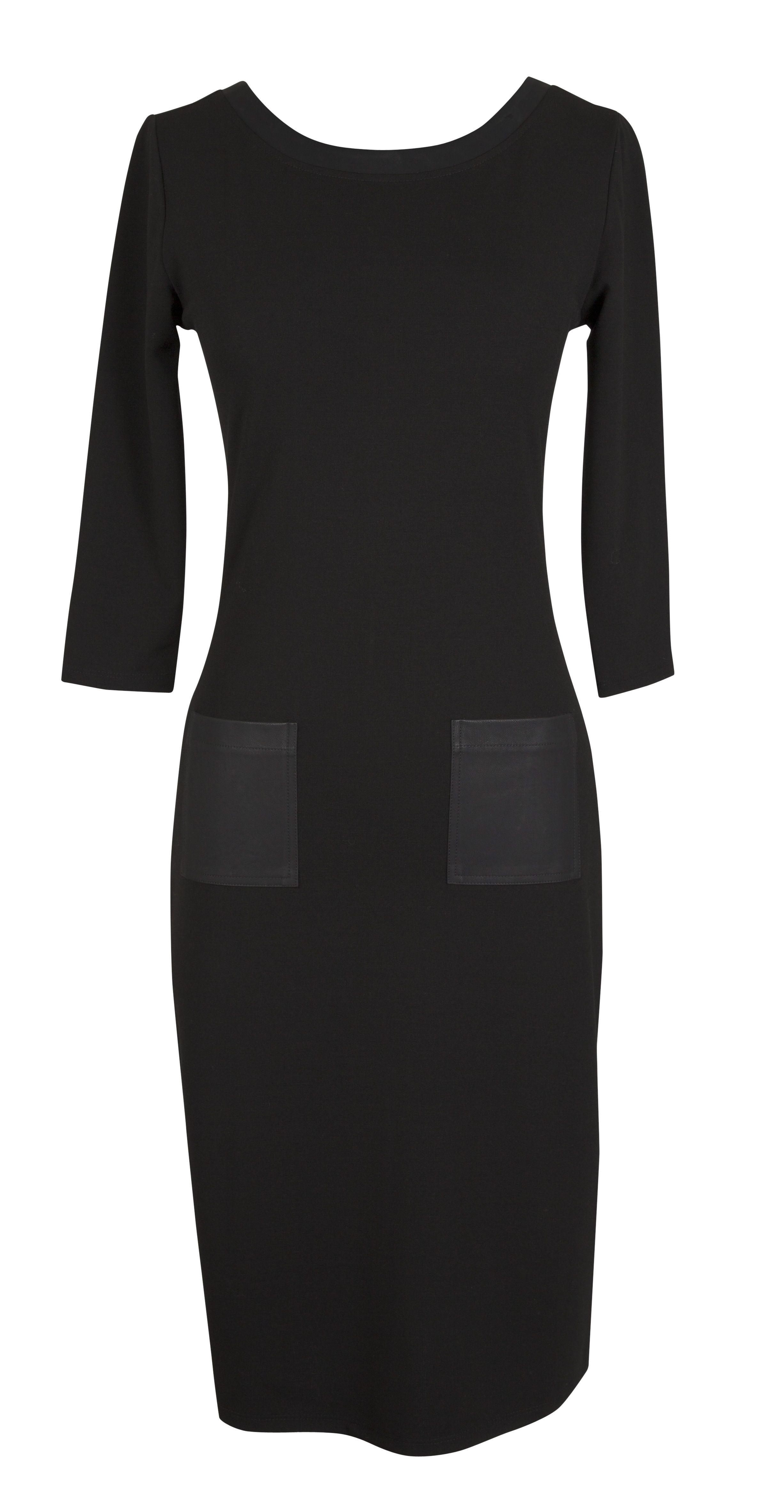 Formal Black Sleeve Dress With Leather Pocket Detail Dresses Black Dress With Sleeves Nice Dresses [ 4727 x 2452 Pixel ]