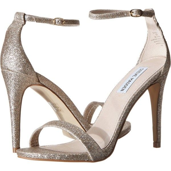 Steve Madden Stecy (Gold Glitter) High Heels (79 720 LBP) ❤ liked on Polyvore featuring shoes, sandals, gold, gold glitter sandals, steve madden sandals, high heel platform sandals, ankle strap stilettos and steve-madden shoes