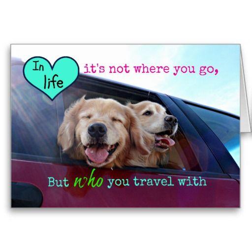 Golden Retriever Travel Friendship Holiday Card