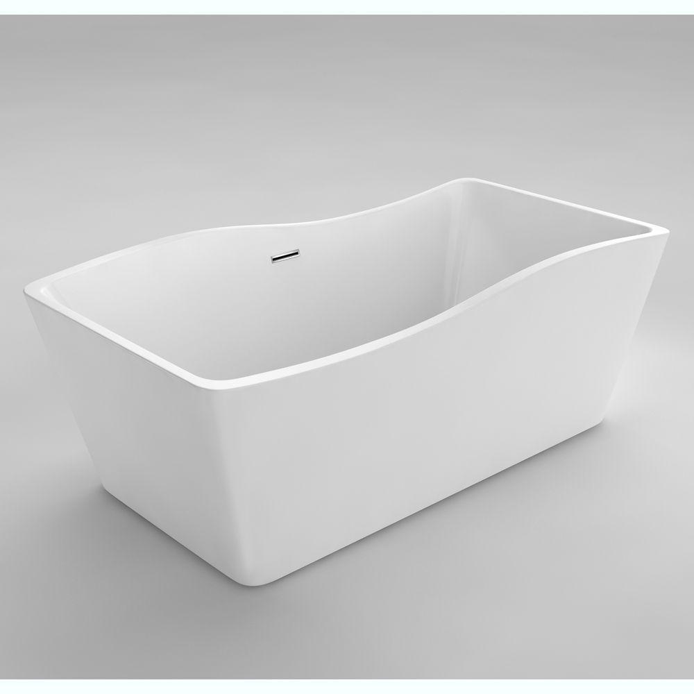 Simone I 4 Feet 11-Inch Acrylic Freestanding Non Whirlpool Bathtub ...