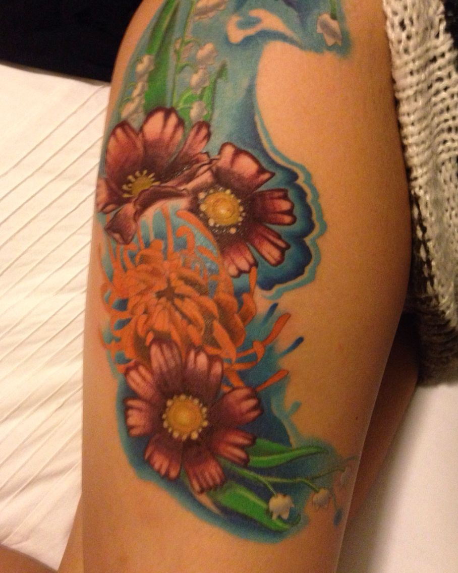 Tattoo floral arrangement birth flowers for May (Lilly