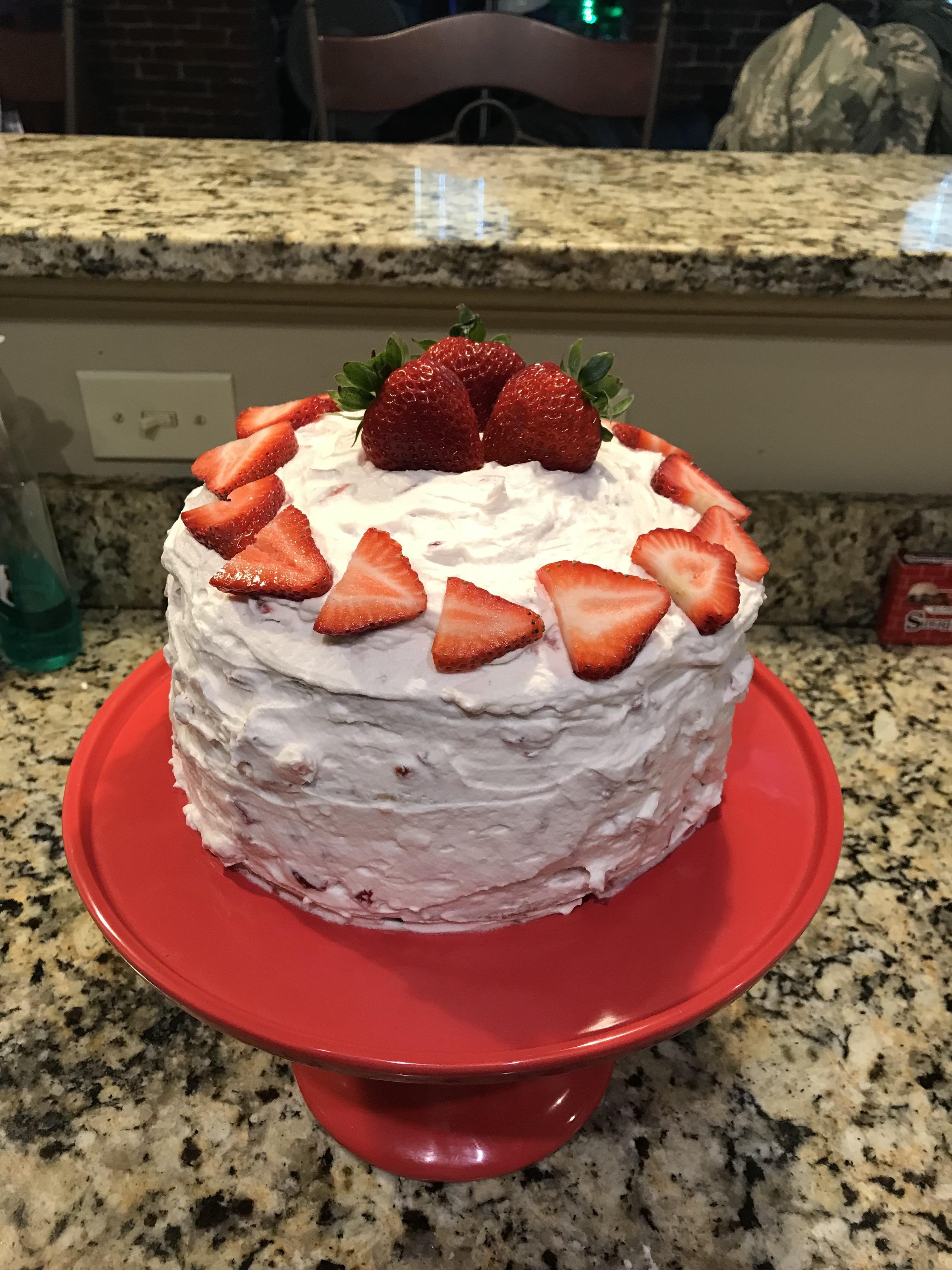 Homemade Strawberry Shortcake Birthday Cake Yummy Pinterest