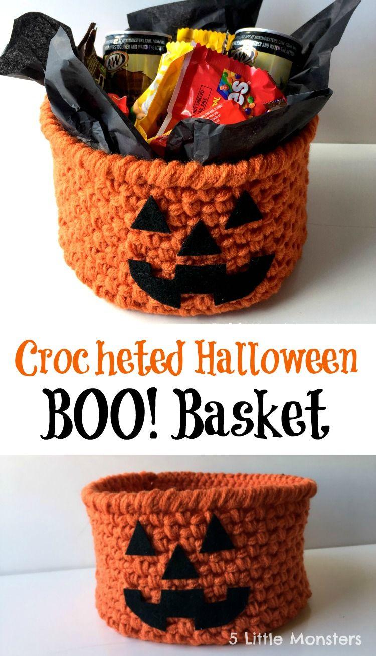 Crocheted Halloween BOO basket #BOOItForward [ad] @walmart | Crochet ...