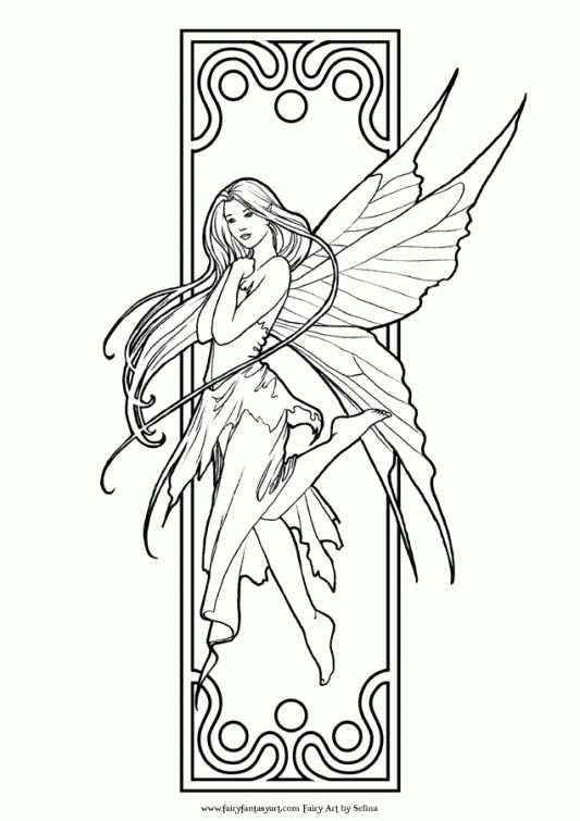 Difficult Fairy coloring pages for grown ups | Fantasy Coloring ...