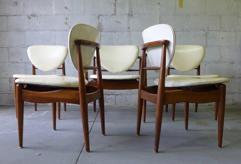 Walnut Mid Century Modern Dining Chairs John Stuart Set 6