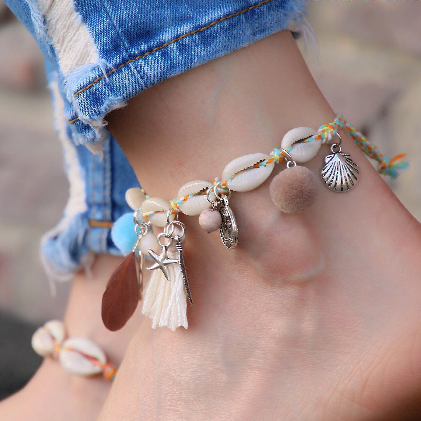 nautical bracelets starfish bracelet beach anklet ankle bling turquoise sterling silver anklets and seashell jewelry