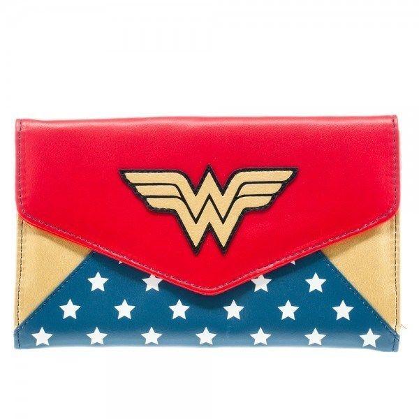 DC COMICS WONDER WOMAN LOGO WOMENS ENVELOPE WALLET HAND BAG CLUTCH PURSE FOLD UP #DCComics #Clutch