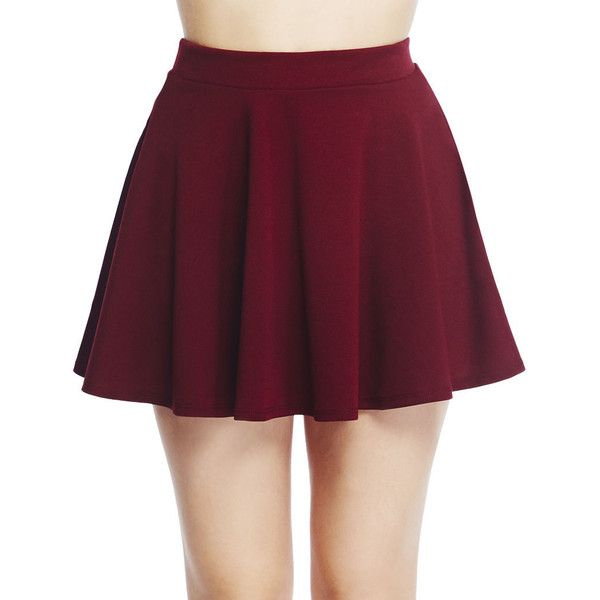 Solid Skater Skirt ($13) ❤ liked on Polyvore featuring skirts, bottoms, saia, pull on skirt, purple skater skirt, circle skirt, wet seal and skater skirt