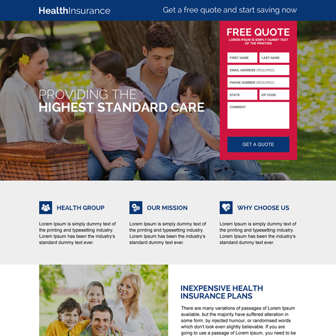 responsive health insurance free quote lead capturing