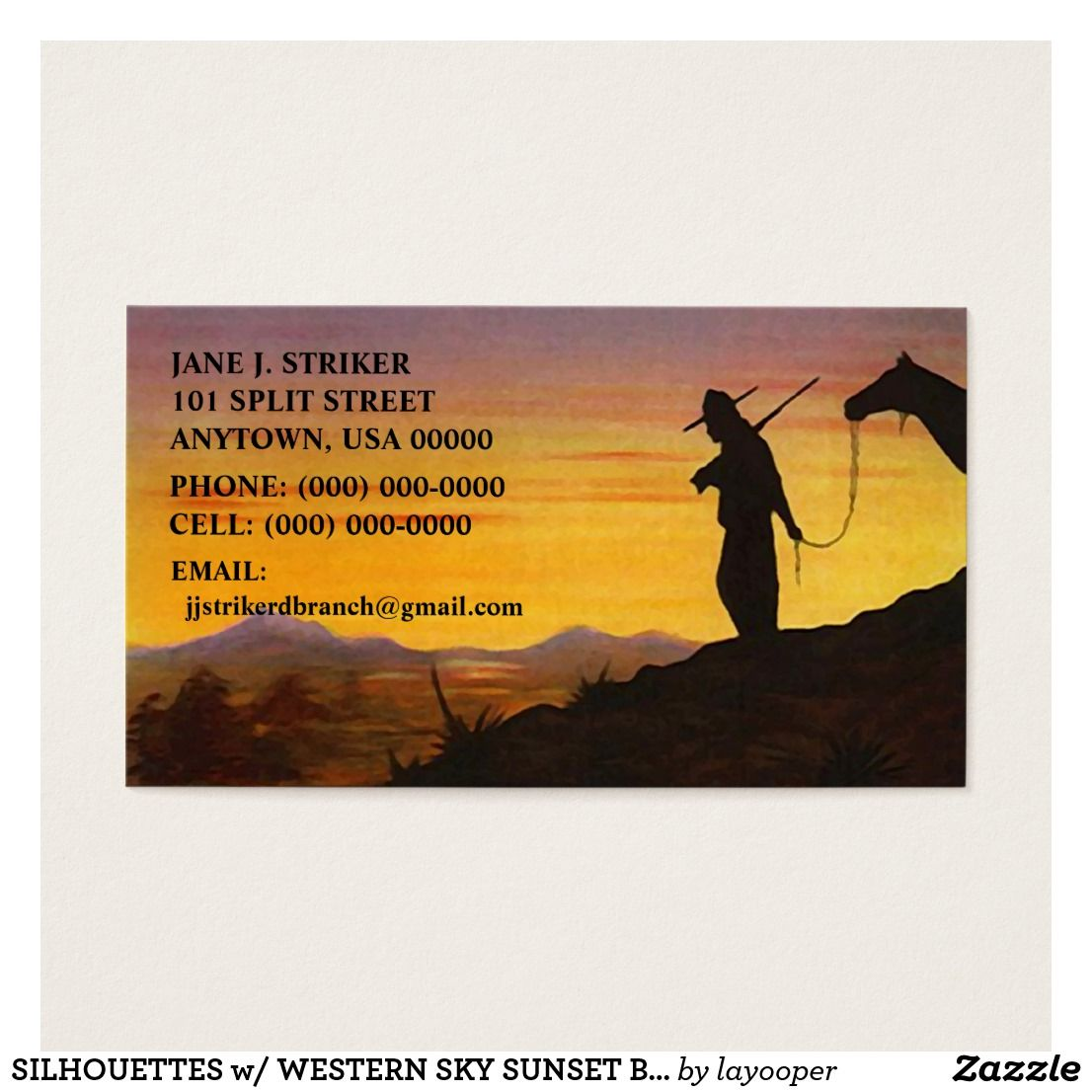 SILHOUETTES w/ WESTERN SKY SUNSET BUSINESS CARDS! Business Card ...