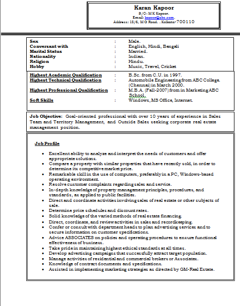 Experienced MBA Marketing Resume Sample Doc 1 – Professional Resume Format for Experienced Free Download