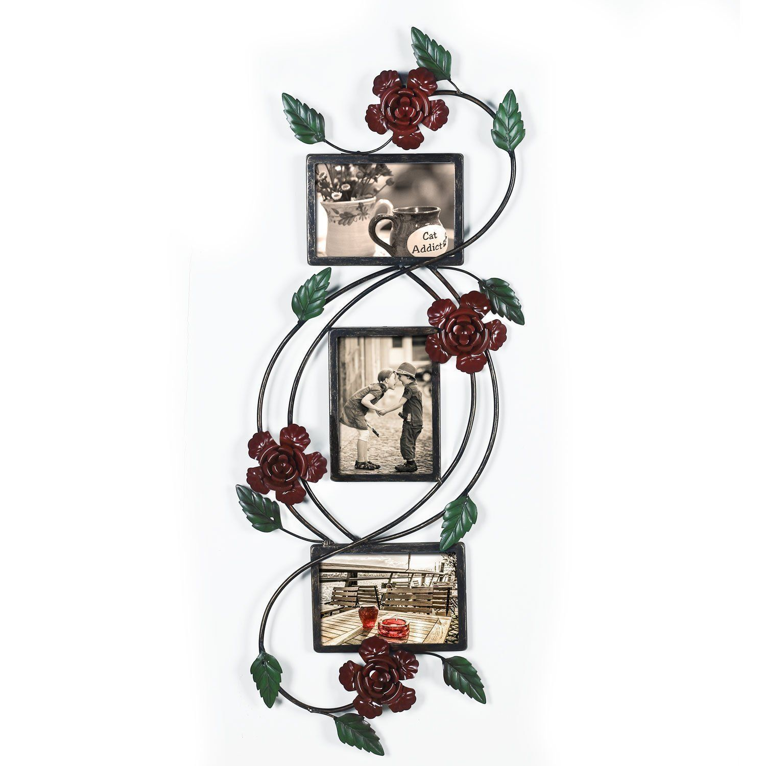 Adeco Bronze/Black Iron Metal 3-opening Decorative Rose Scroll ...