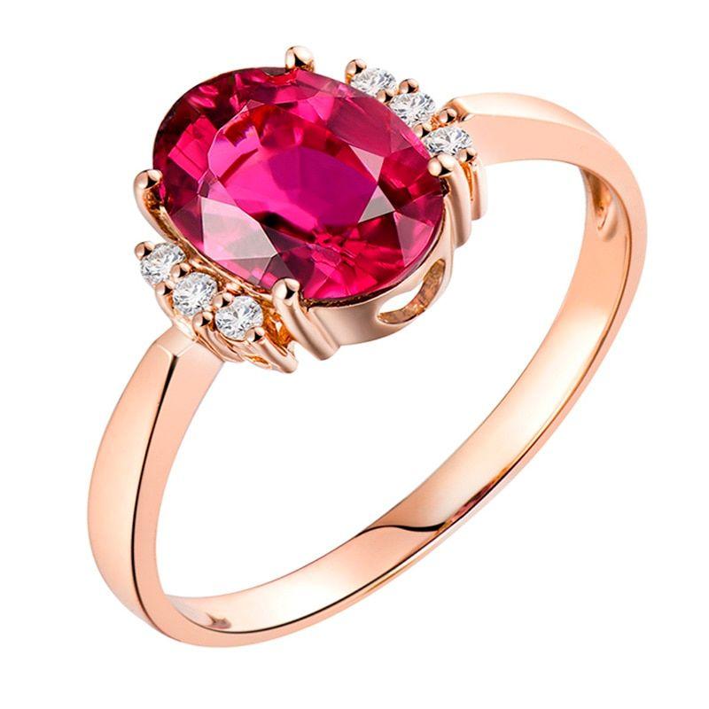 5b04b67902e 14K Rose Gold Natural Diamond Pink Tourmaline Genuine Gemstone Ring Jewelry  Wedding Party Rings For Women