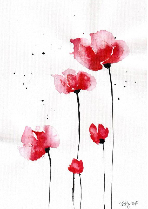 Poppy Painting 8x12in Canvas Abstract Watercolor Flower Art