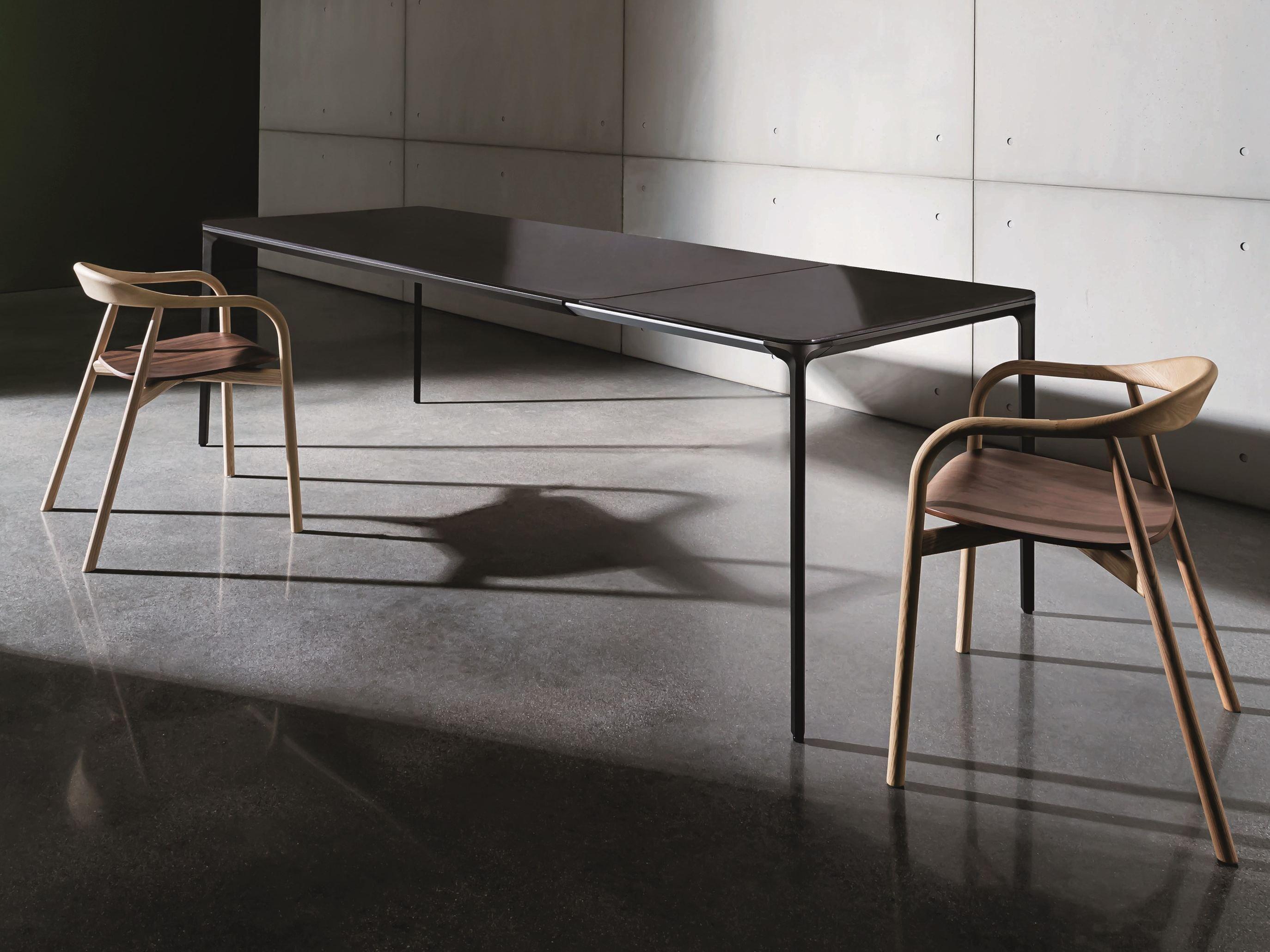 Extending Glass And Aluminium Table Slim Extensible Sovet Italia