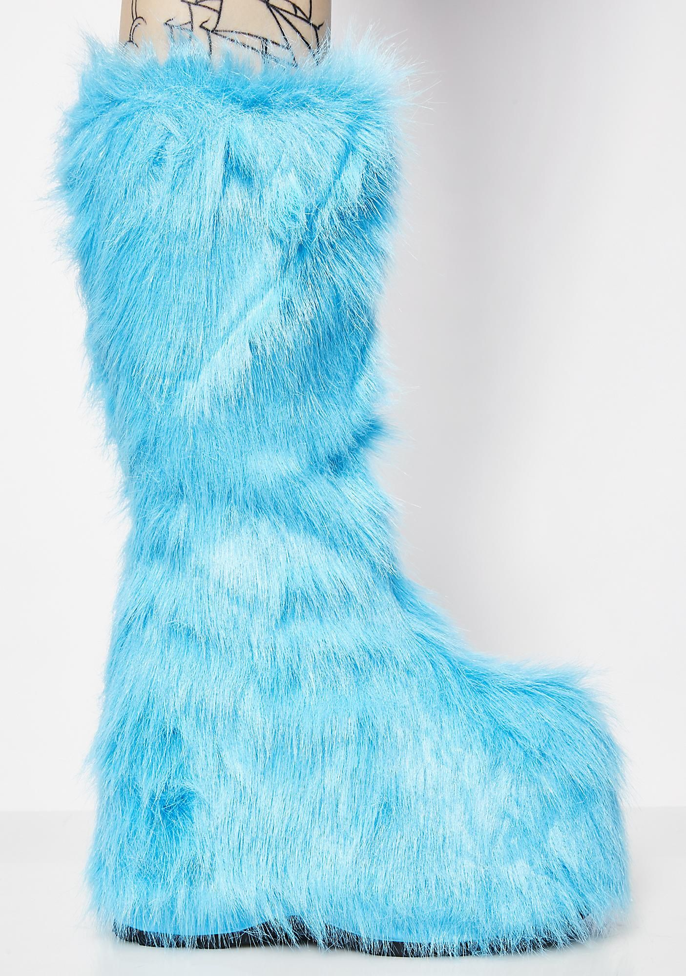 12649f44f33 Electric Party Monster Fuzzy Platform Boots