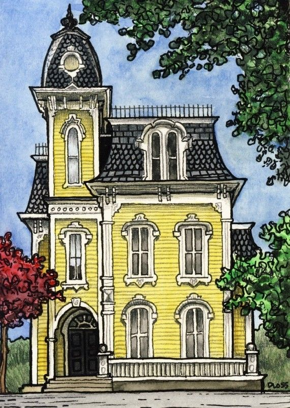 Mansion Drawing: Tiny Victorian - 5x7 - Fine Art Print