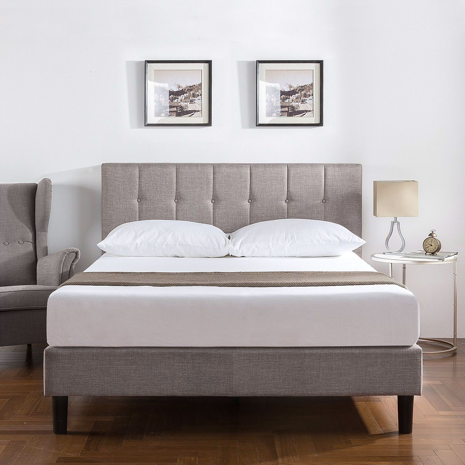 Queen Medium Grey Upholstered Platform Bed Frame With Button