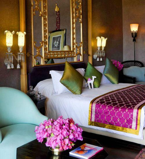 Bedroom Furniture Houston Pop Art Bedroom Designs Romantic Bedroom Background Bedroom With Area Rug: Jewel Tones Pop Against A Dark Wall