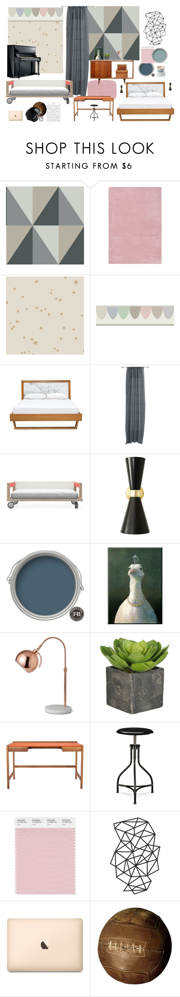 """bedroom+girl/boy room"" by artforma on Polyvore featuring interior, interiors, interior design, дом, home decor, interior decorating, Cole & Son, CB2, Kay + Stemmer и Rawlings"