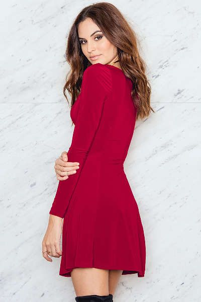 Sweetheart Skater Dress with Long Sleeves