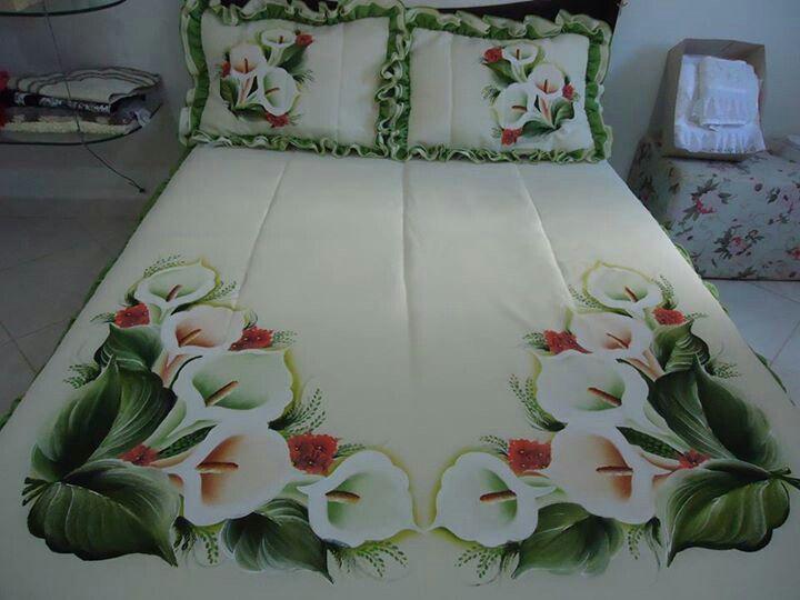 Colcha Pinturasobretela Bed Sheet Painting Design
