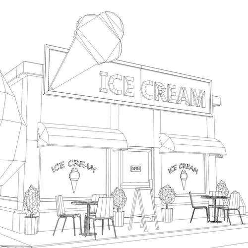 Coloring Rocks Ice Cream Shop Decorating Sites Shop Window Stickers