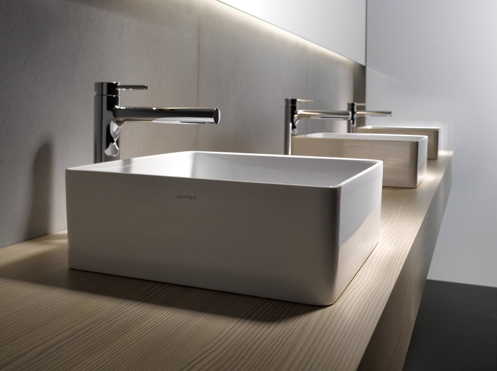 Bathroom sink designs pictures - Fascinating Modern Bathroom Sink Idea Featuring Wall Mounted Wooden Brown Modern Bathroom Vanity Triple White Vessel Sinks And Freestanding L Shape