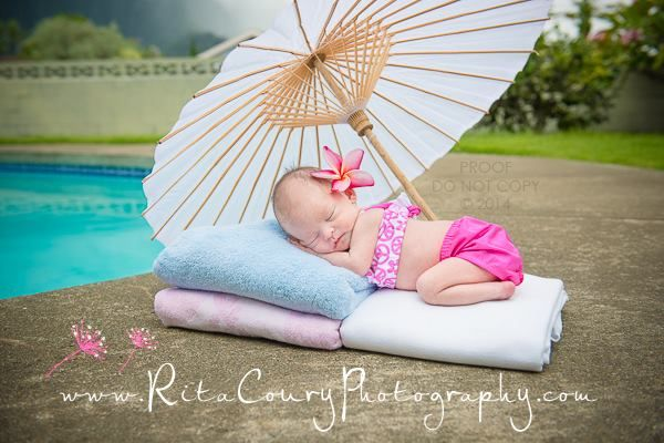 Newborn photography hawaii baby photographer natural light beach baby poolside
