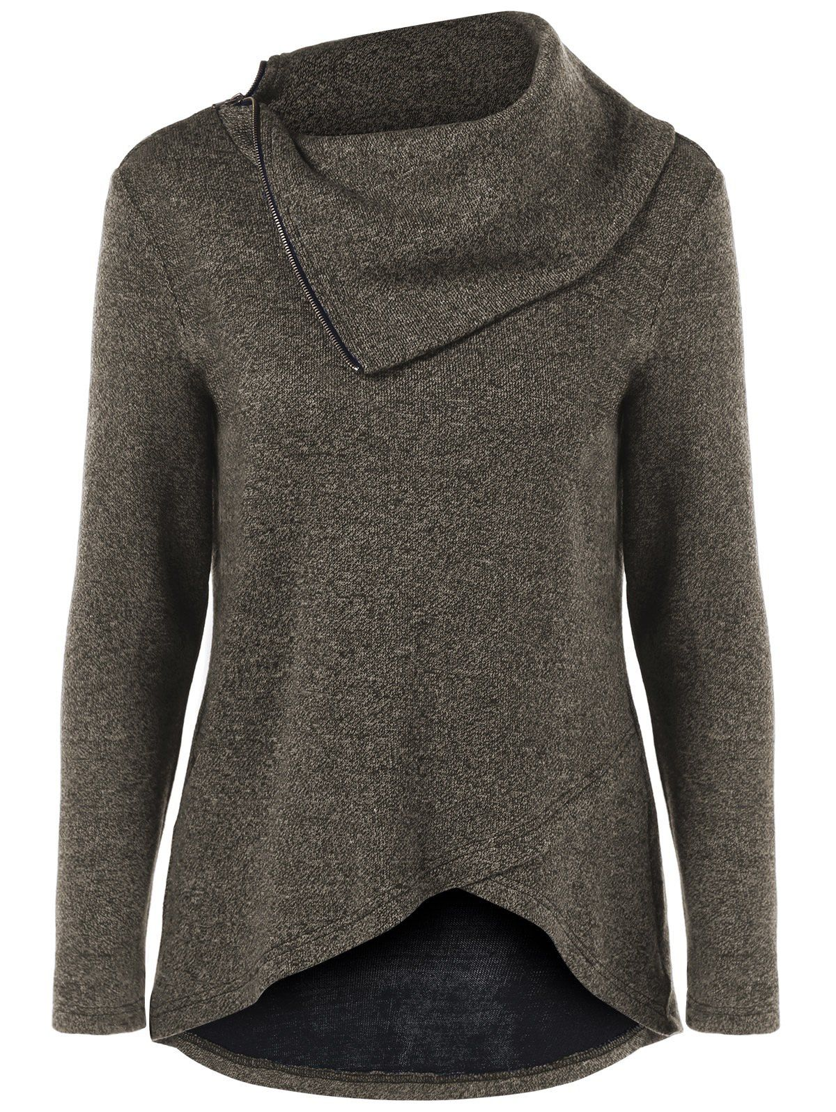 Funnel Neck Tulip Hem Knitwear in Khaki Grey | Sammydress.com