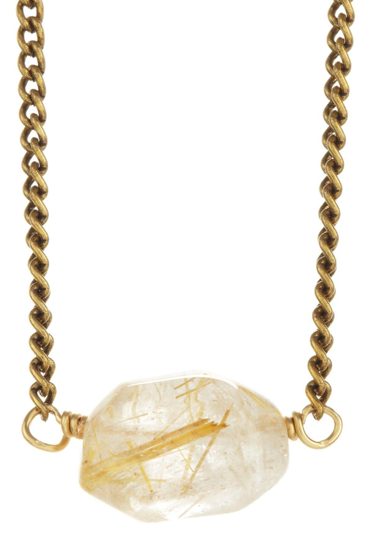Rutilated quartz nugget necklace cessoires pinterest
