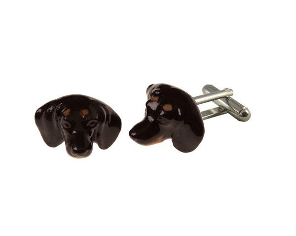 Stanley the Dachshund hand painted porcelain cufflinks.  This item is supplied in its own gift box.