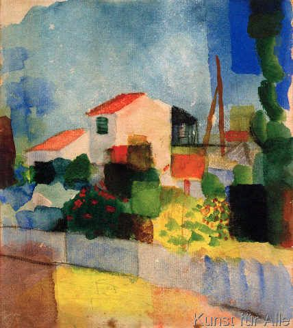 Bright house by August Macke Giclee Fine ArtPrint Reproduction on Canvas