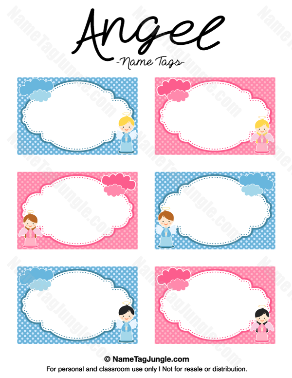 free printable angel name tags the template can also be used for