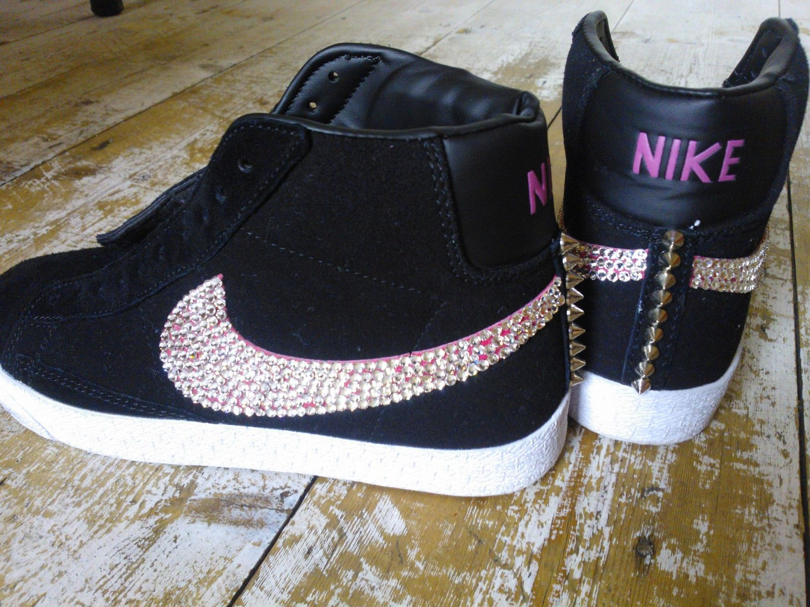Nike Blazers with Swarovski crystal ticks and silver coloured spikes ... 7d0ce8aff