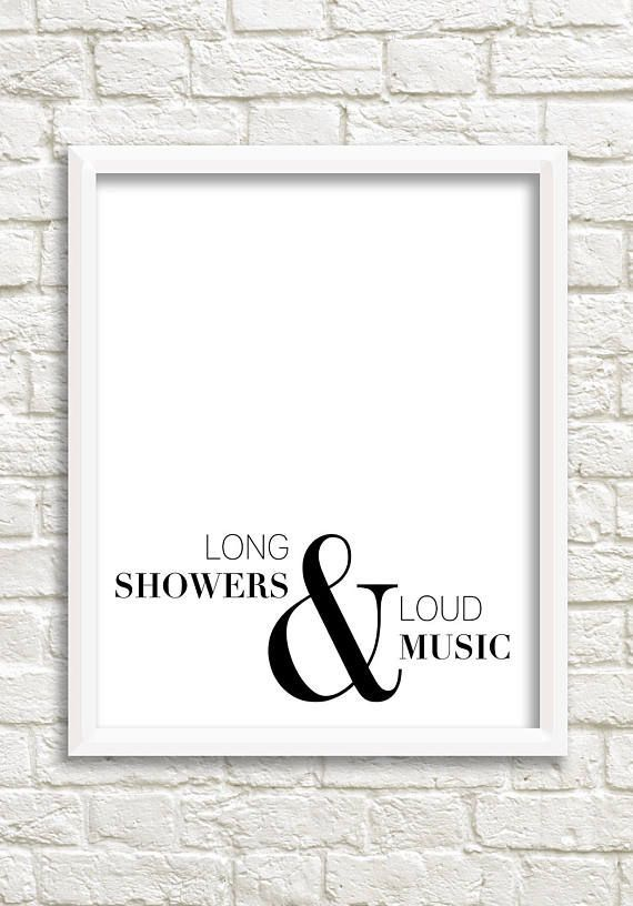 Photo of Bathroom art, black white wall art, bathroom sign, bathroom wall decor, black and white print, minimalist prints, long showers & loud music