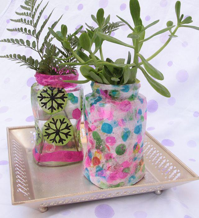 Moederdag Cadeau Van Een Glazen Pot Versieren Met Glasverf