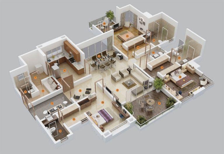10 Plans 3d Pour Amenager Une Maison De 3 Chambres Plan Maison Contemporaine Plan Maison Plans Petite Maison Moderne