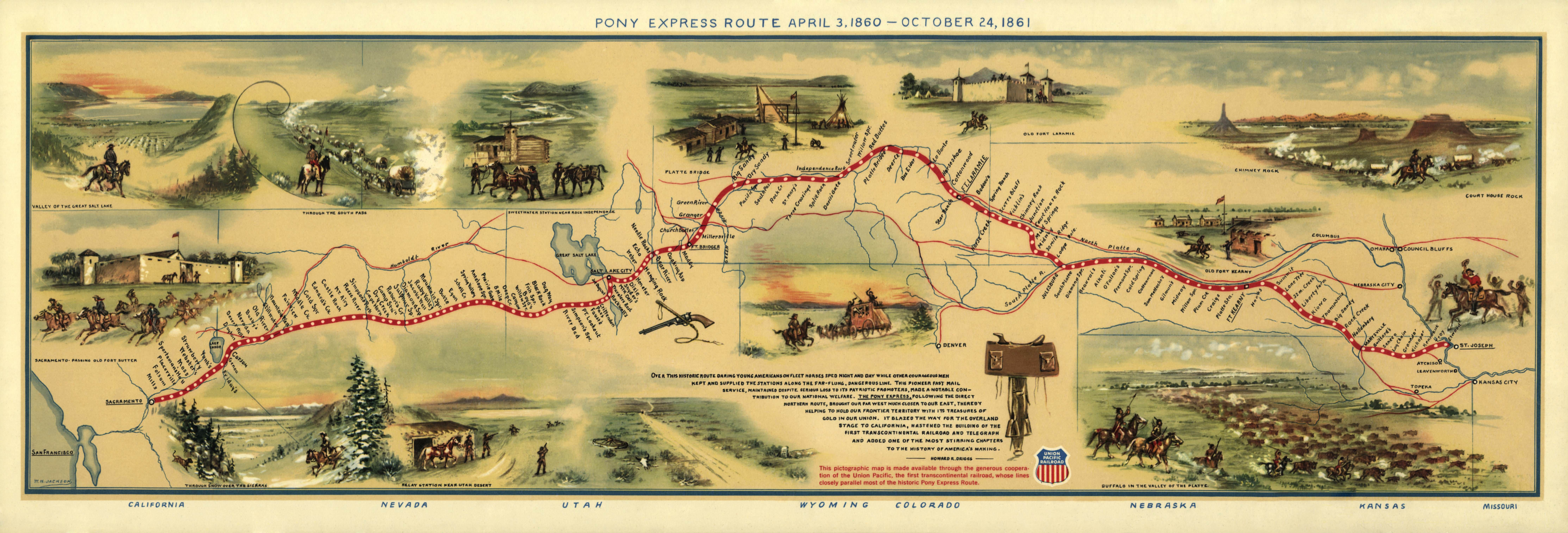 Pony Montana Map.Pony Express Route Map 1935 By William Henry Jackson Maps