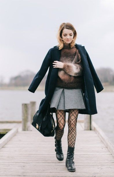 67379b3a3b2e sweater tumblr brown cozy sweater tights net tights fishnet tights skirt  mini skirt grey skirt boots black boots flat boots bag black bag coat black  coat
