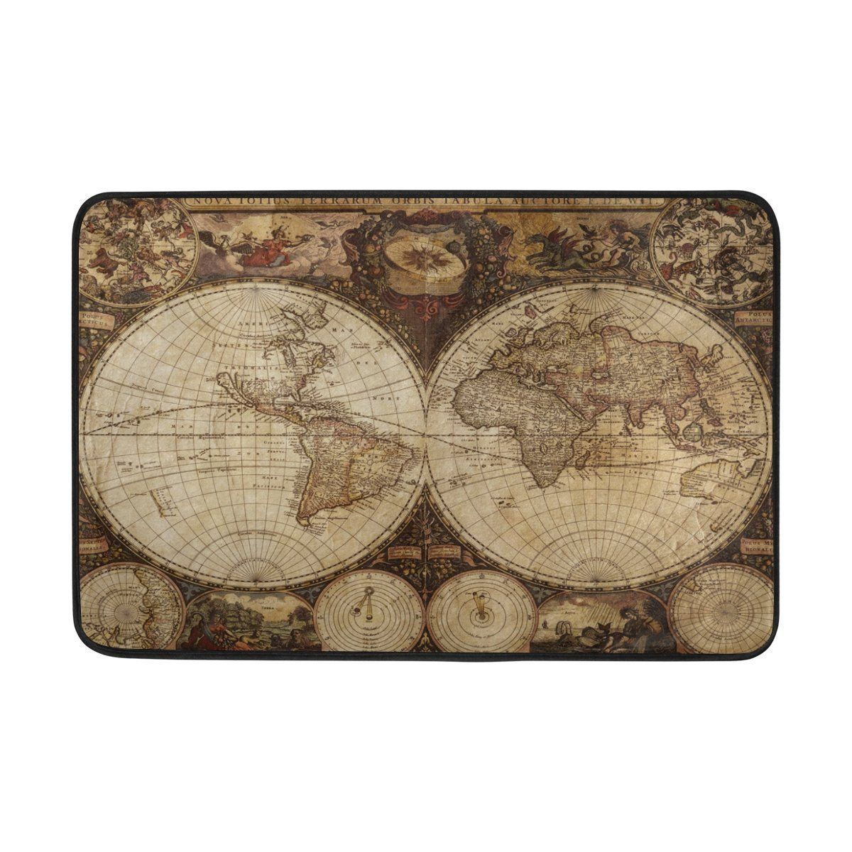 Amazon demonco vintage retro old world map door mat rug map amazon demonco vintage retro old world map door mat rug map of gumiabroncs Image collections