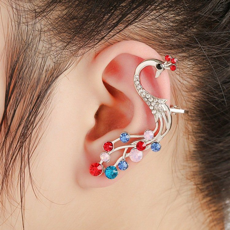 1 Pc Ethnic Pea Silver Earrings Colorful Rhinestones Ear Cuff Cartilage For Women