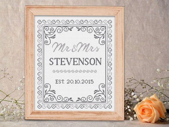Mr&Mrs Wedding Cross Stitch Pattern Personalised by DecorByTwins ...