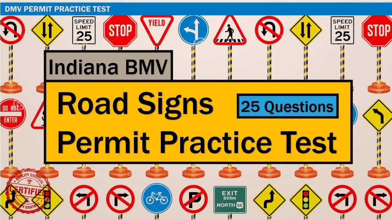 Written test for driving: Indiana BMV Road Signs Permit Practice